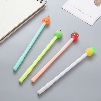 40 Pcs Fruit Head Neutral Pen Candy Color Quality Pupils Writing Pen Small Gift Giveaway Kawaii Stationery Factory Direct Sale
