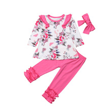 3PCS Newborn Toddler Baby Girl Outfits Floral Clothes Tops Long Sleeve T shirt Solid Pants Headband Set 2019 thanksgiving toddler kids baby girl clothes long sleeve tops plaid pants leggings headband 3pcs outfits clothes set