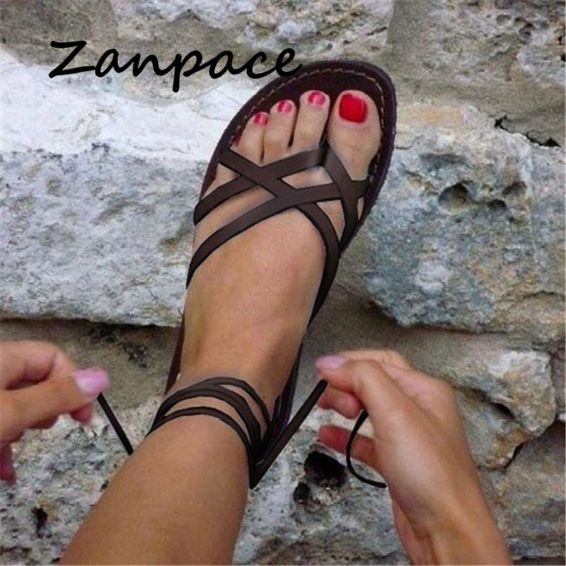 New Women Sandals Gladiator Summer Casual Women Shoes Large Size Rome Flat Sandals Lace-Up Beach Comfortable Sandals Women 2019()