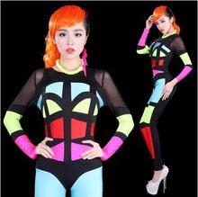 Halloween DS Singer Pole Dance Stage Show Nightclub Wear Neon Superman Cosplay Party Costumes DJ Patchwork Women Sexy Bodysuit