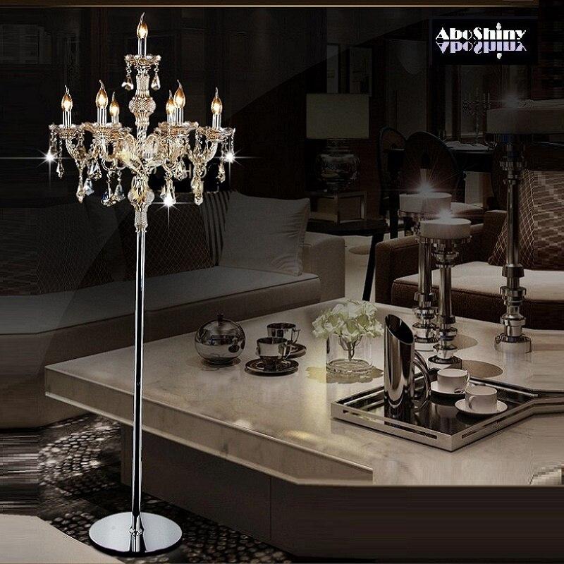 Moda moderna de cristal da lâmpada Chão da sala acende lâmpadas quarto Luzes Abajur de Cristal cristal cristal Francês Moderno estande