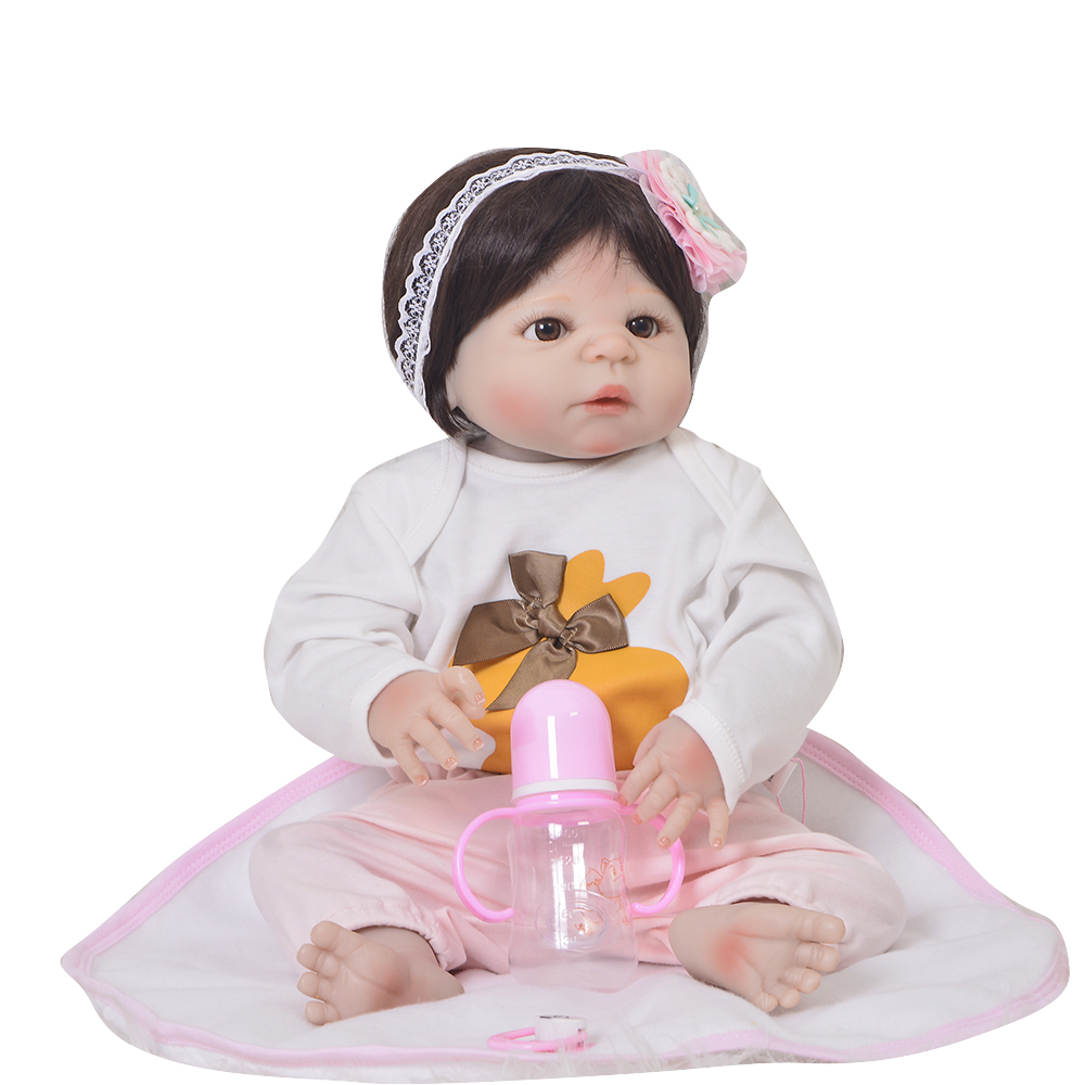KEIUMI 23 Inch Full Body Silicone 57 cm Baby Doll Realistic Princess Reborn Doll Baby Girl Wholesale Toddler Play Toy Kids Gifts keiumi 23 reborn babies doll full body silicone vinyl fashion diy toy for girl realistic princess 57 cm children s day gifts