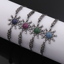 Hot sales fashion accessory for women sunflower colorful crystal with black plated copper bracelet&bangle high quality
