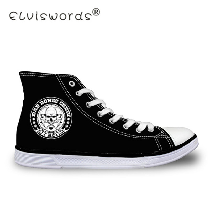ELVISWORDS Cool Punk Skull Printed Men's Vulcanized Shoes High Top Men Casual Canvas Shoes for Teenage Lace-up Flats Shoes Boys forudesigns women fashion high top flats shoes cool skull design female height increasing platform shoes for teenage girls shoes