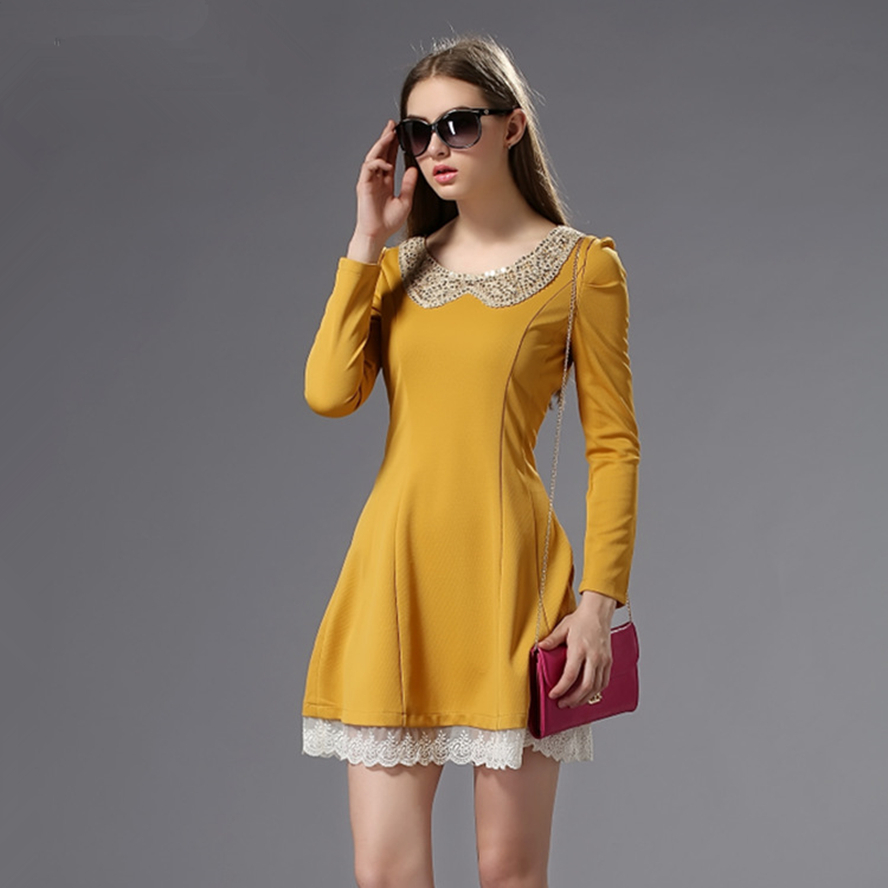 Casual Lace Dress in Yellow