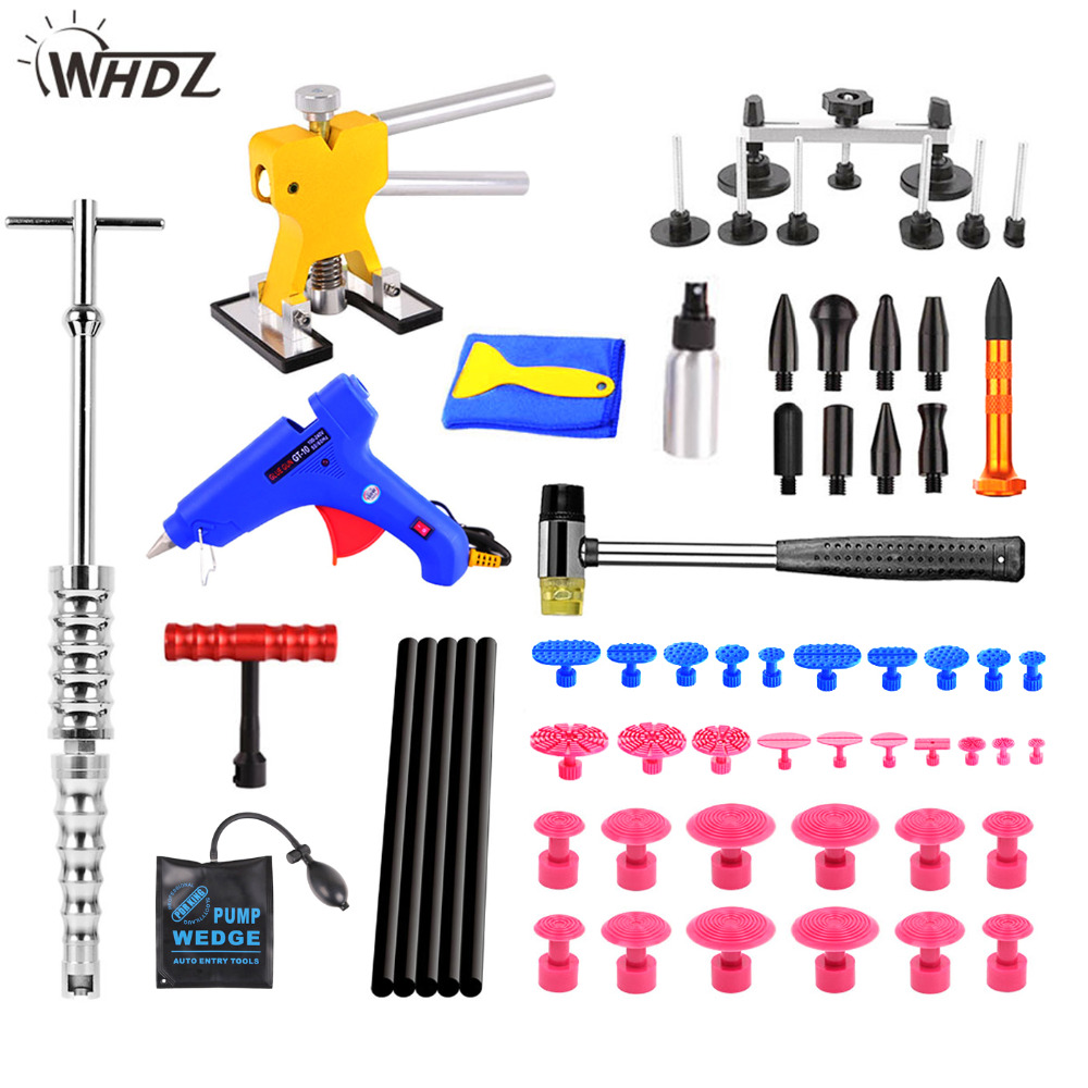WHDZ PDR Tools For Car Kit Instruments Car Body Repair Kit PDR Dent Puller Removal Dent Lifter Tool Set Suction Cup For Car Dent dent puller kit pdr tools paintless dent repair removal tool car straightening instruments hand tool set ferramentas suction cup