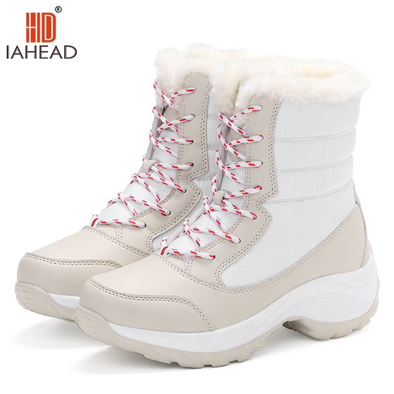 IAHEAD Super Quality Women Boots Snow Boots Winter Shoes Keep Warm Fashion Beautiful Shoes Casual Flats Ankle High Boots UPC373
