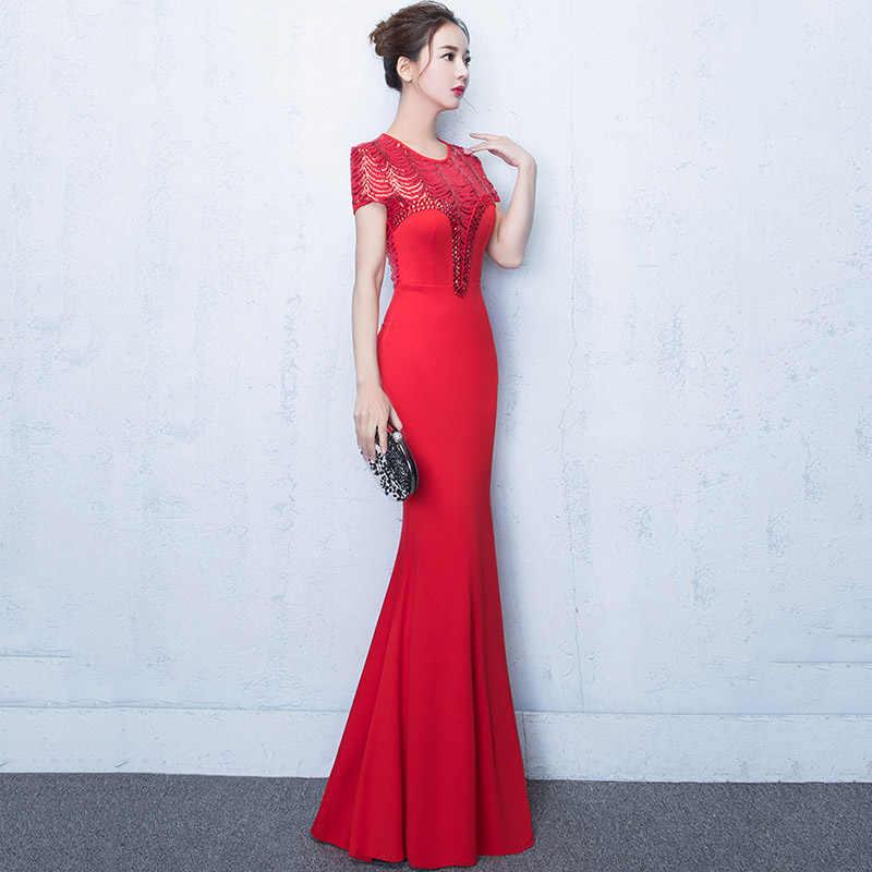 b8c2ff1fc113a Red Sequined Beads Short Sleeve Mermaid Long Elegant Gowns Formal Dress  Bodycon Sexy Club Party Dresses Vestido De Festa Longo