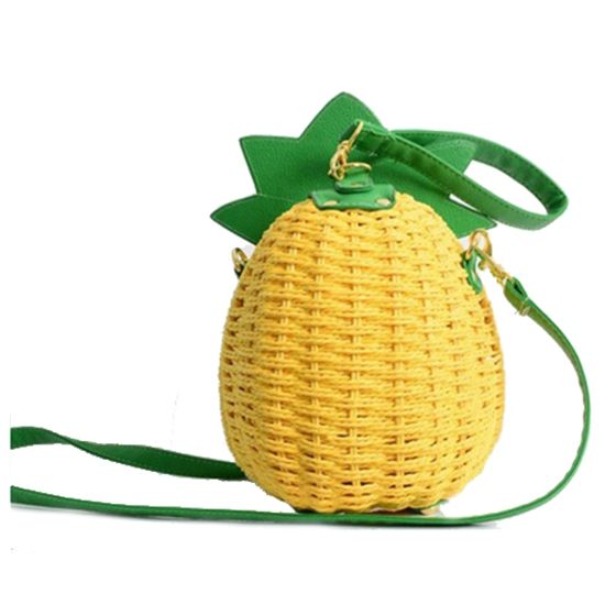 5 pcs of 1 Pcs New Straw Bag New Cute Fruit Bag Pineapple Package Pure Handmade Woven Circular Handbag (Color: Yellow) color the five star fruit needle disposable fruit sign package of more preferential 250 pcs bag