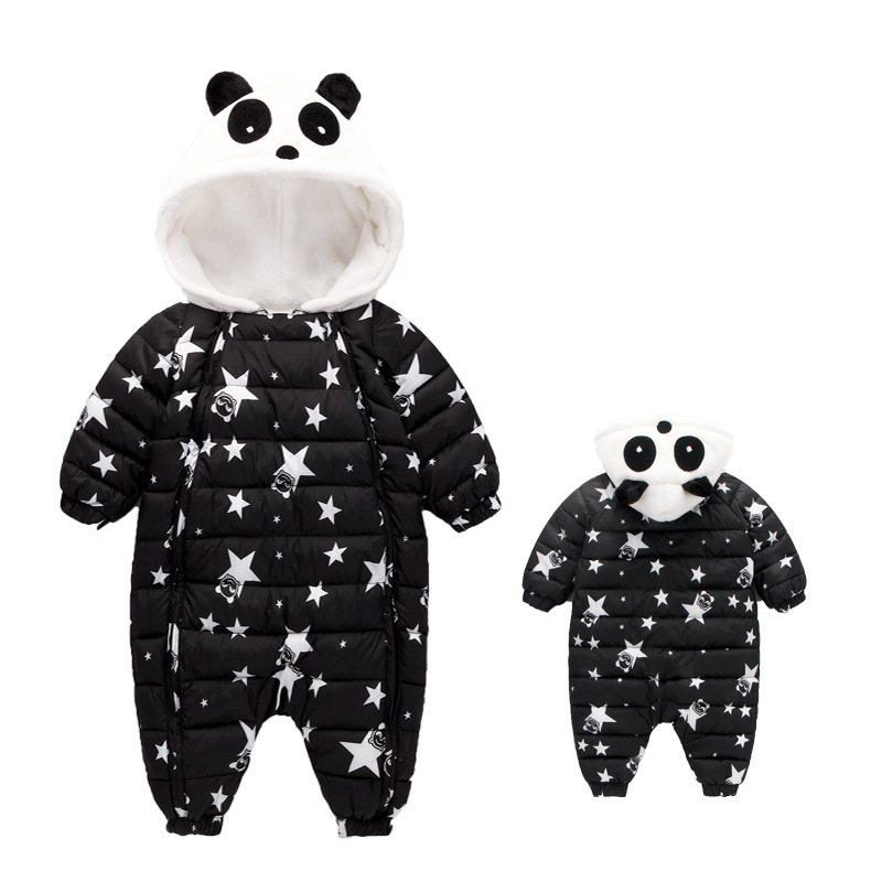 Image 2 - Waterproof Winter Warm Baby Boy Girl Bodysuits Flannel Liner Cotton Filler Newborn Baby Clothing Panda Modeling For 3 24 Months-in Rompers from Mother & Kids