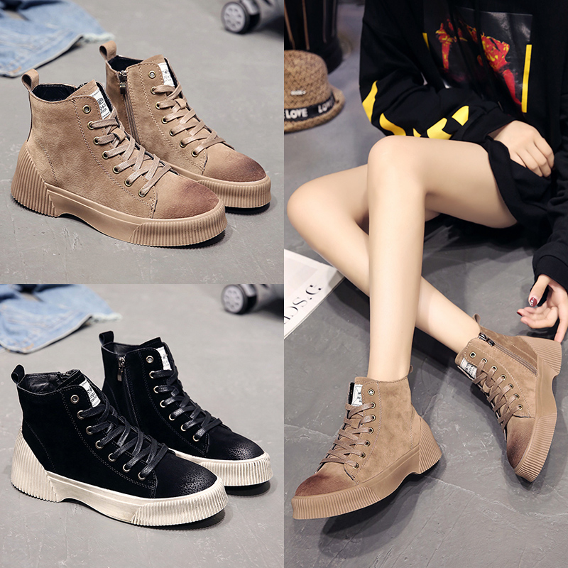 4d27cc45a30 US $34.99 30% OFF|Fashion Women's Martins Boots Retro Leather Ankle  Motorcycle Shoes Sport Casual Female Doc Work Sneaker Short Boot Hunter  Buty-in ...