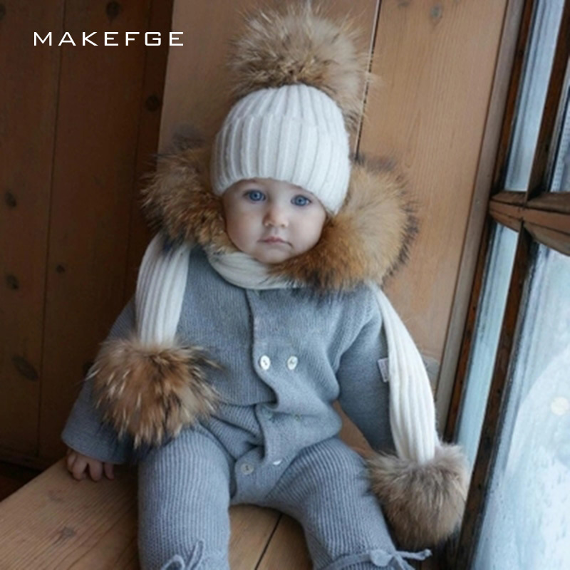 Autumn And Winter Children's Knitted Cotton Hats Warm And Comfortable Ski Mask Caps Scarf Boy Girl Raccoon Fur Pompom Beanies