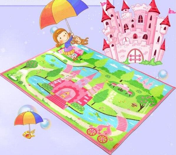 2017 moderne élégant tapis en Nylon dessin animé rose château Style tapis et tapis pour enfants maison salon Alfombra