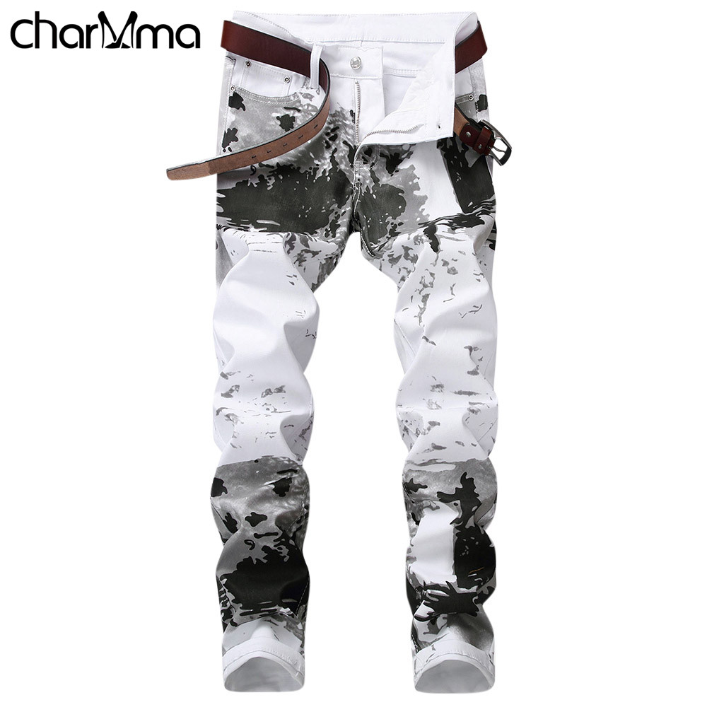 2018 New Young Man Stretch Skinny   Jeans   Splash-Ink Pants Fashion Splash-Ink Printing Slim Fit Pencil Pants Men   Jeans   Long Pants