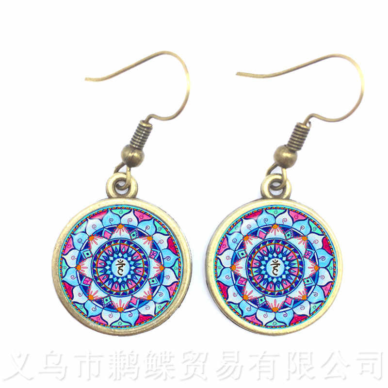 2018 New Arrival Mandala Drop Earrings OM Symbol Buddhism Zen Retro Jewelry Fashion Earrings Women Online Shopping India