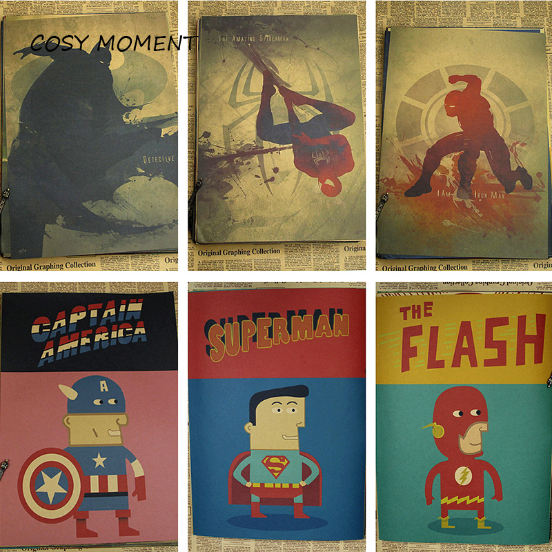 COSY MOMENT Movies Superheroes The Flash Poster Painting ink Cat-woman / Wonder Woman / Spider-Man / Super-man QT132