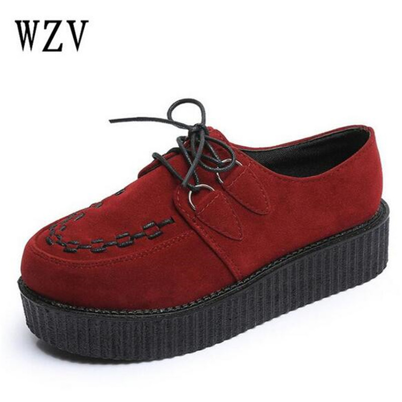 2018 Women Shoes Creepers Casual Women Flats Platform Shoes Black Fashion Lace-Up Casual shoes Creepers 24 Colors B237 women platforms lats shoes 2015 casual shoes ladies fashion footwear creepers lace up single shoes mujer zapatillas de deporte