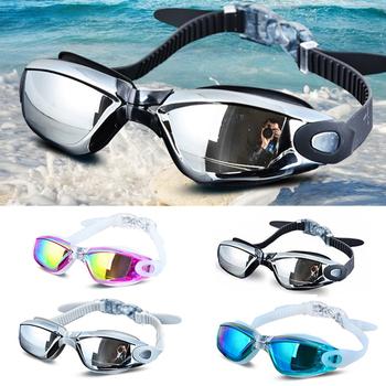 Galwanizacja UV wodoodporna Anti fog stroje kąpielowe okulary pływać nurkowanie okulary wodne Gafas regulowane okulary pływackie kobiety mężczyźni tanie i dobre opinie Octan Poliwęglan MULTI Black