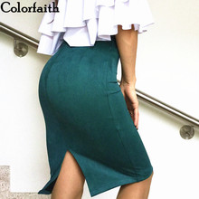 Multi colors 2017 Women Skirt Winter Solid Suede Work Wear Package Hip Pencil Midi Skirt Autumn Winter Bodycon Femininas SP012 cheap Empire Faux Fur Knee-Length None Formal Colorfaith