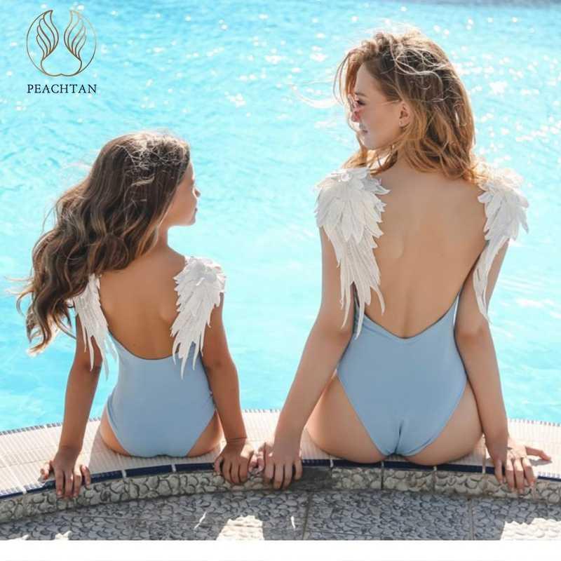 6719cdb9766 Peachtan Sexy bodysuit one-piece suits Embroidery wing bikini 2019 swimsuit  push up Plus size