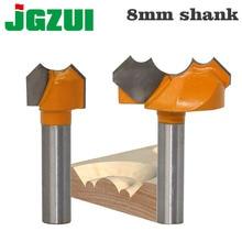 Mèche de défonceur Double Arc de qualité professionnelle, mèche ronde pour coupe gravure sur bois et bois, tige de 8mm