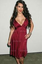 Günstige Kim Kardashian Burgund Chiffon Cocktailkleid V-ausschnitt knielangen Celebrity Dress