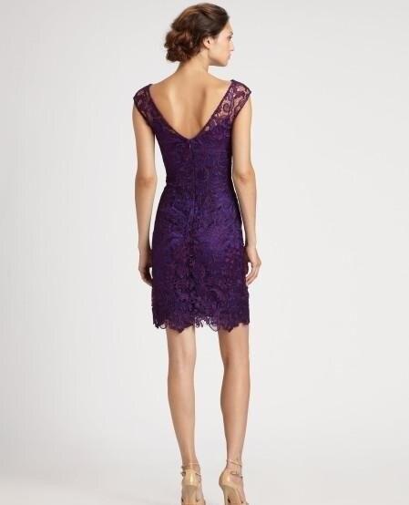 Фиолетовое прозрачное «Лодочка» с тюлем, кружевное короткое платье для мамы, платья с коротким рукавом, облегающее вечернее платье, платья для матери невесты