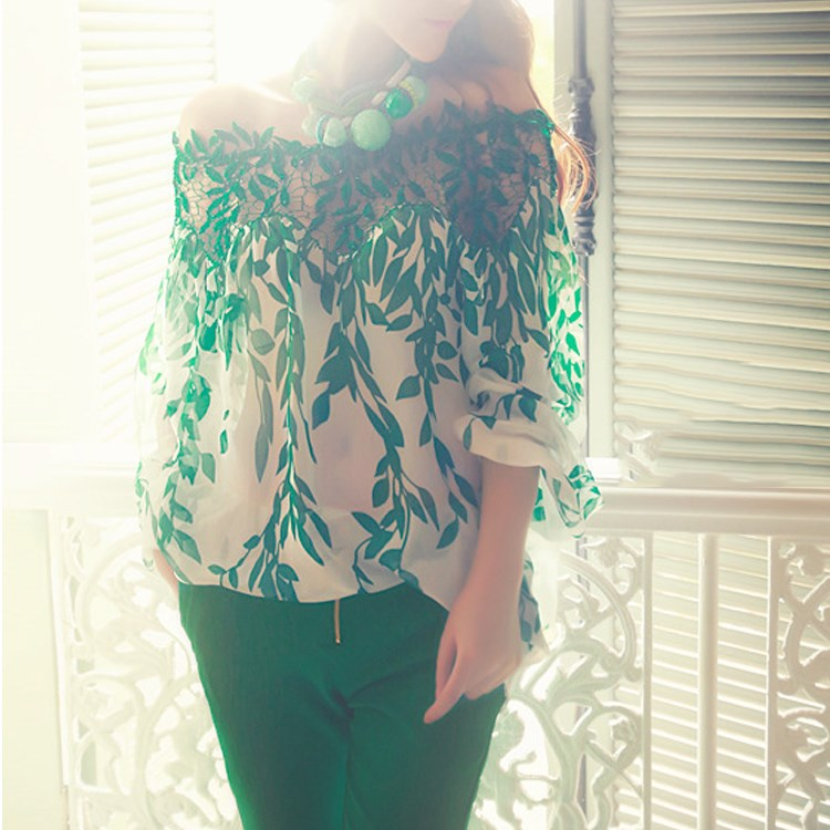 Fashion 2019 Women Summer Leaves Print Blouse Cool Lace Blouse Hollow Out Casual Chiffon Top(China)