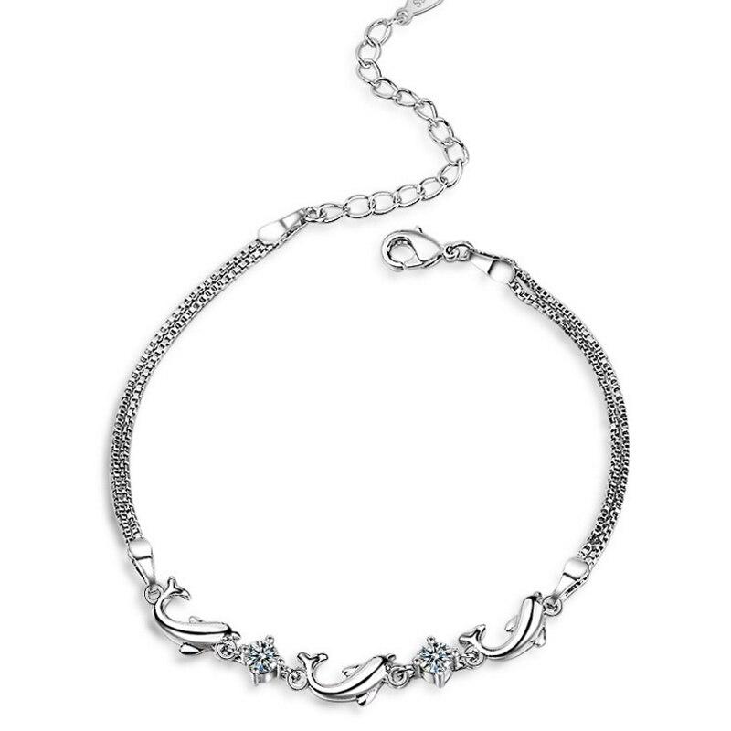 Браслет для женщин дельфина морских организмов основной хвост цепи зубец установка циркон камни наручные модный бренд ювелирных изделий