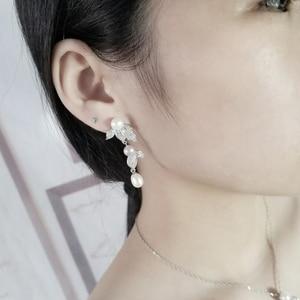 Image 2 - [MeiBaPJ] 성격 패션 자연 진주 꽃 세트 S925 실버 귀걸이 & 목걸이 여성을위한 훌륭한 보석 세트