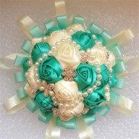 Green Ivory Satin Silk Rose Wedding Bouquet Bridal Rhinestone Jewelry Diamond Hands Holding Flowers Decoration 20