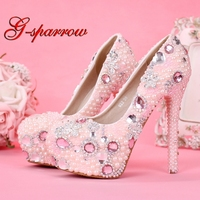 Newest Design Sweetness Pink Color Bridal Wedding Shoes Princess Girl Birthday Party High Heels Graduation Prom Dress Shoes