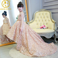 Champagne Children S Evening Dress Princess Dress Tailing Beauty Contest Stage Costumes Birthday Host Flower Girl
