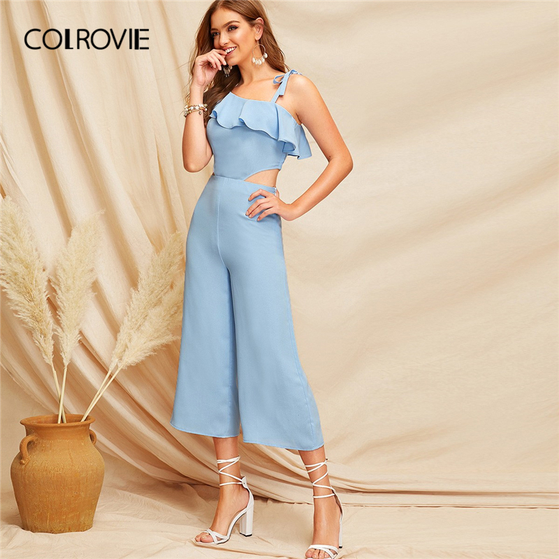 COLROVIE Blue Ruffle Cut Out One Shoulder Knot Elegant   Jumpsuit   Women 2019 Sleeveless Wide Leg Culottes Boho Rompers   Jumpsuits