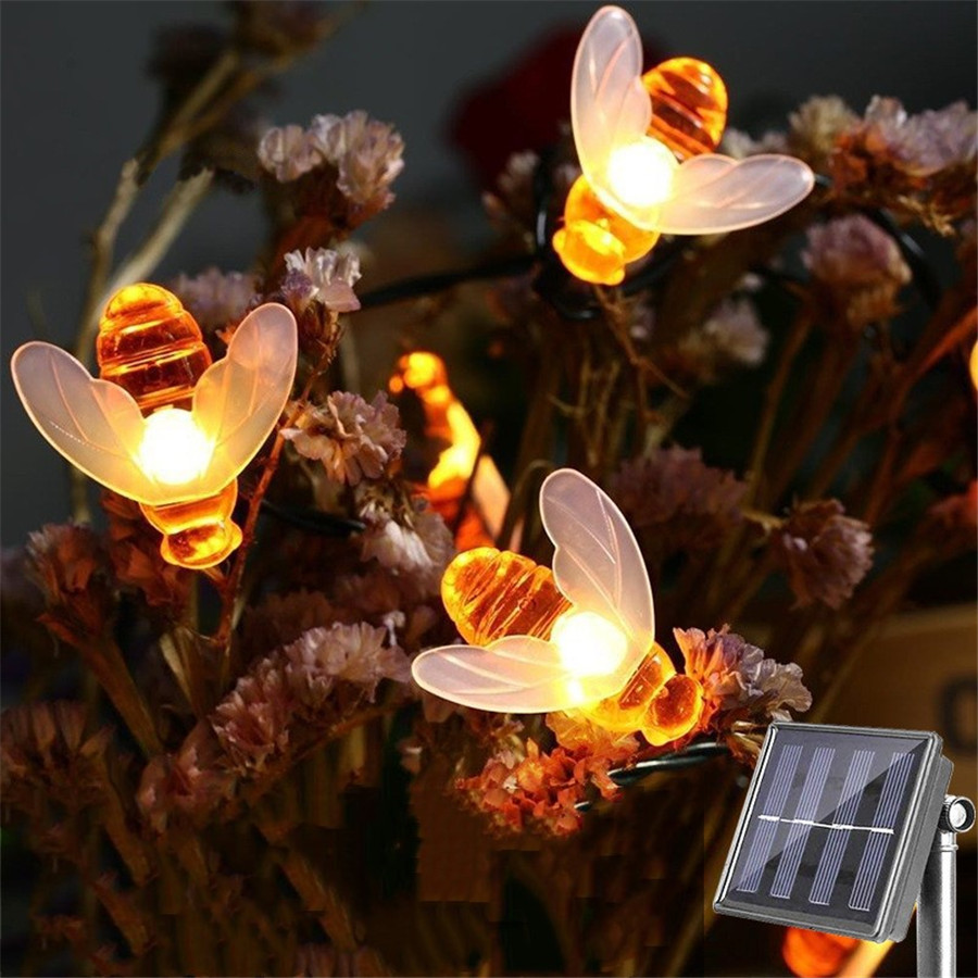20 LEDs Solar Powered 5M String Honey Bees Lights Garden Decors Lamp Outdoor Fairy Light Lawn Patio Wedding Party DIY Decoration