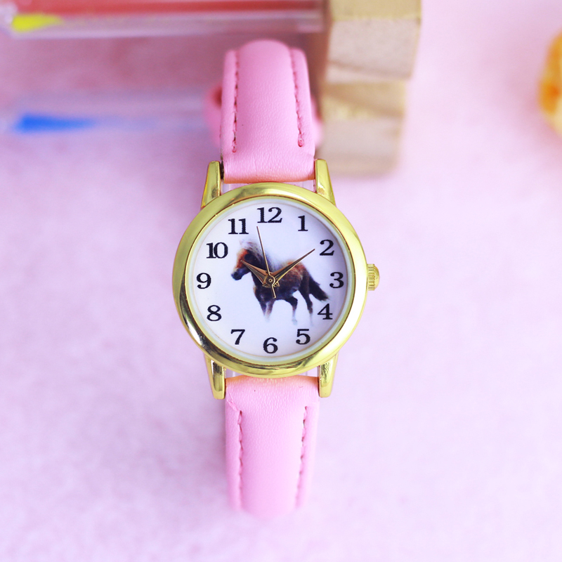Chaoyada Children Boys Girls Cute Cartoon Small Horse Quartz Watches Little Kids Colorful Digital Leather Waterproof Watches