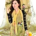 Hot Sale Lady Spring Summer Soft Medium Long Chiffon Silk Scarf Women Shawl Wraps Stole Flower Printed Scarves Foulard Femme