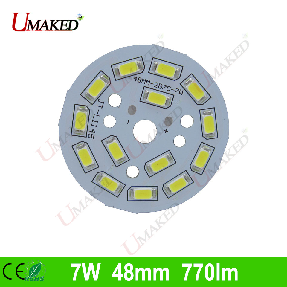 7W 48mm 770lm <font><b>LED</b></font> PCB with smd5730 chips installed, aluminum plate base for bulb light, ceiling light, <font><b>LED</b></font> lamps