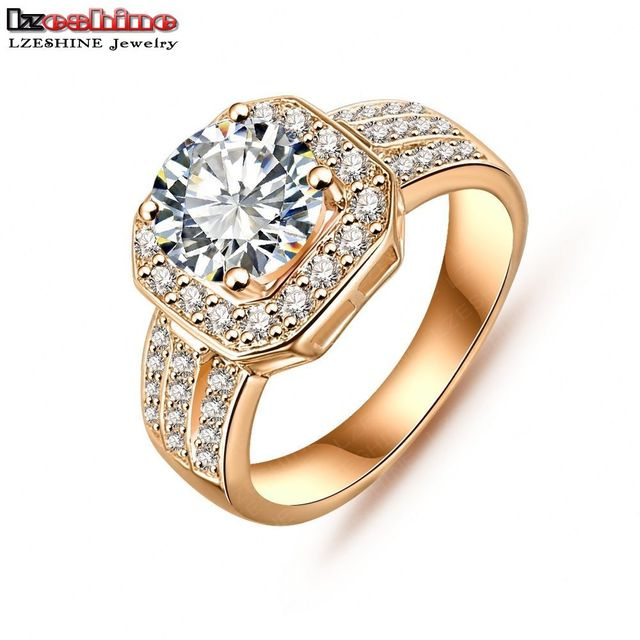 LZESHINE New Arrival Square Ring Gold /Silver Color Micro Inlay AAA Cubic Zircon  Female Ring anillos de compromiso CRI0015