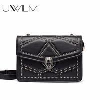 Chain Rivets Women Bags Handbags Famous Brands Luxury Snake Head Messengers Bag PU Leather Party Black