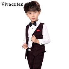 Brand Boys Birthday Waistcoat Formal Suit Children Kids Tuxedo Vest Shirt Pants 3pcs Set Wedding Party Clothes Kids Suit  F041