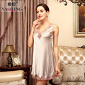Lisacmvpnel Hollow Lace Sexy Women Nightgown Deep V Sleeveless Nightwear Elegant Female Sleepwear