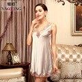 Lisacmvpnel Oco Lace Sexy Mulheres Camisola V Profundo Mangas Roupa Elegante Fêmea Sleepwear
