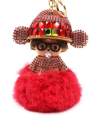 Chinese Style Monchhichi Crystal Keychains Metal Key ring Cute Key Hanger Genuine Ribbit Fur Pompom Key Chain Luxury Gift M165