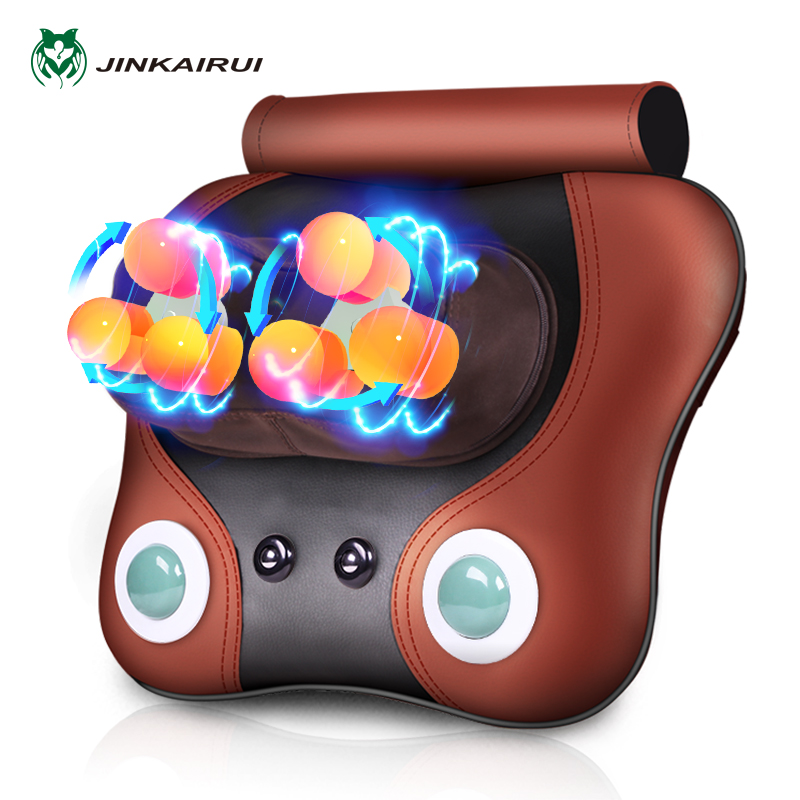 JinKaiRui Neck Pillow Massager Shiatsu Deep Kneading Massage with Heating Back Neck and Shoulder Pain Relief Masaj Device neck and shoulder massager back spine pain relief massage belt can use in car