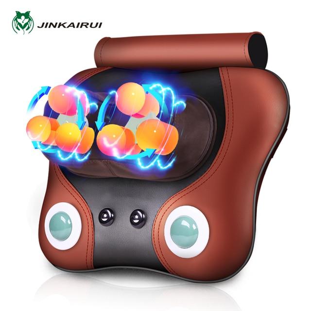 JinKaiRui Neck Pillow Massager Shiatsu Deep Kneading Massage with Heating Back Neck and Shoulder Pain Relief Masaj Device
