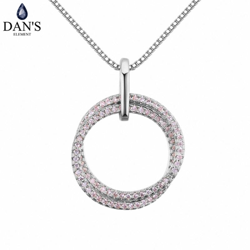 DAN'S Element AAA Zirconia Micro Inlays Fashion Doule Round Pendant 3 Color Necklace For Women Valentine's Gift 130409