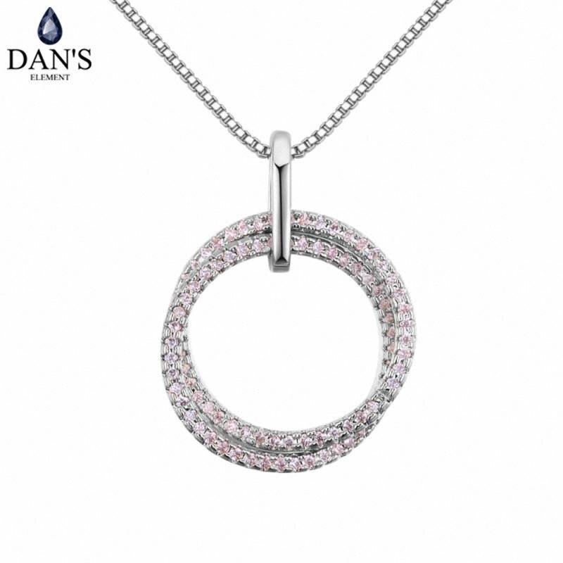 DAN'S Element AAA Zirkonia Micro Inlays Mode Doule Runde Anhänger 3 Farbe Halskette Für Frauen valentinstag Geschenk 130409