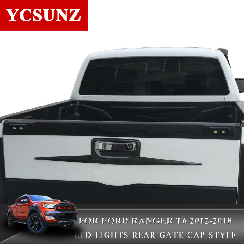 Tail Gate Truck Trim For Ford Ranger 2018 Accessories Tailgate Truck Sill Cover for Ford Ranger T6 T7 2012-2018 Wildtrak Ycsunz