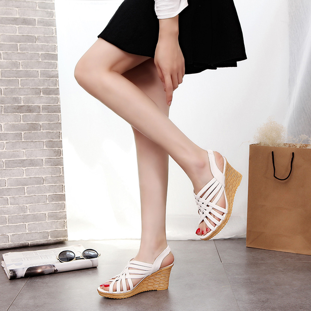 Sandal Shoes Checkered-Belt Platforms High-Heels Gladiator Summer Cut Outs-Pattern